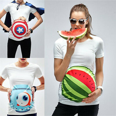 Pregnant Woman 3D Printing Watermelon T-Shirt Maternity White Tee Casual Tops
