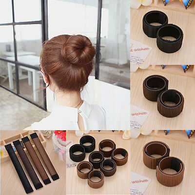 New Women DIY Hair Styling Bun Maker Donut Former Foam Cool French Twist Tool