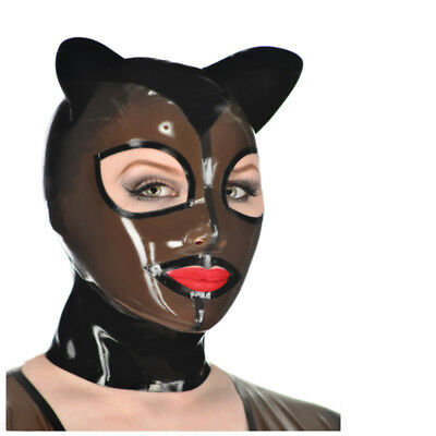 Sexy Latex Unisex Hood Mask with Cat Ear Cosplay Party Wear Rubber Mask