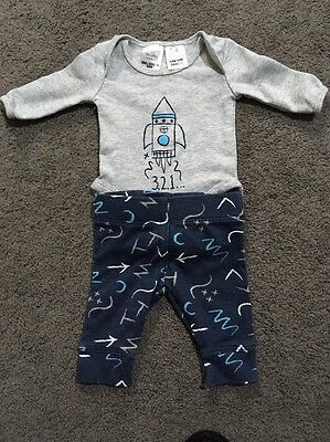 Baby Boys 2 Piece Long Sleeved Romper And Pants Size 00000 EUC