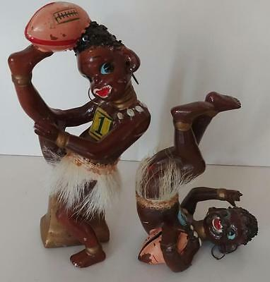 Vintage Kitsch Barsony Era African Negro Football Playing Boys Figurines
