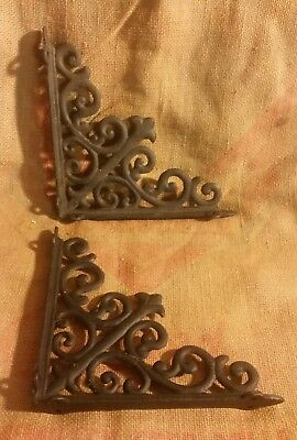 "Pair Of 8"" Black Cast Iron Shelf Brackets Victorian Style Shabby Corner Lot A"