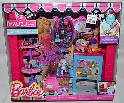 Nib-Barbie Malibu Ave. Pet Boutique Playset-20+ Pieces-Kittens-Cats-Puppies-Dogs