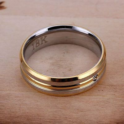 925 Sterling Silver Plated Ring Silver Gold Lines   Unisex