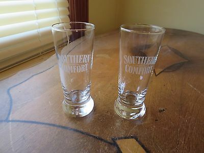 Two Etched Southern Comfort Shot Glasses