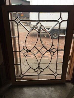 Sg 1512 Antique All Beveled Glass Landing Window Or Door Panel 33.5 X 44