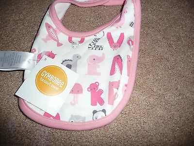 "Brand New Nwt Gymboree Girl Pink Reversible Giraffe ""giggly"" Bib Baby One Size"