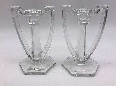Pair of Antique KRYS-TOL RARE Candle Stick Holder EAPG Deco Art Glass (743A)