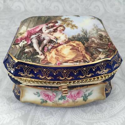 French Cobalt Blue Fragonard Lovers Watteau Casket Jewelry Dresser Trinket Box