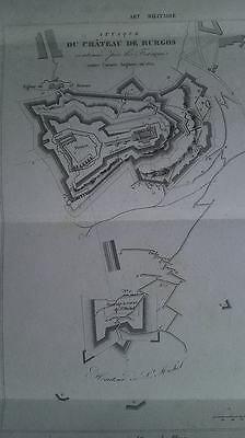 1812 Siege of Burgos French battle map 1852 antique engraving Chateau