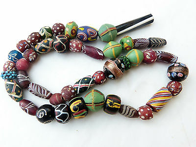 Very old Venetian African Trade Beads, Fancy-King Beads-feather beads, 42 beads
