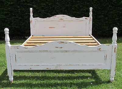 Painted Pine Farmhouse Chic King Size Double Bed with Wooden Base