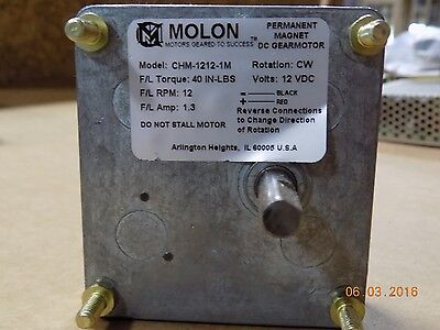 Molon model CHM-1212-1M DC gearmotor 12 VDC CW Rotation