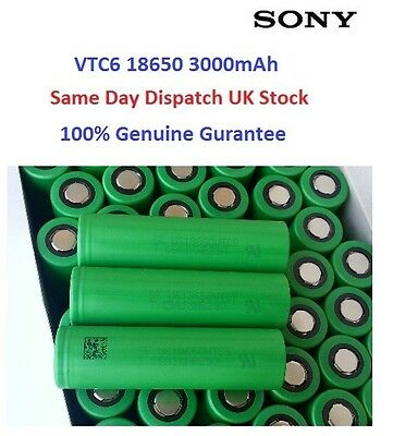 100% Authentic Sony US18650 VTC6 3000mAh High Drain Rechargeable Battery , UK