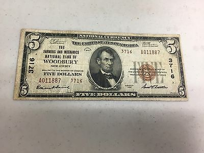 Series 1929 $5 Brown National Currency Bank Of Woodbury  Note