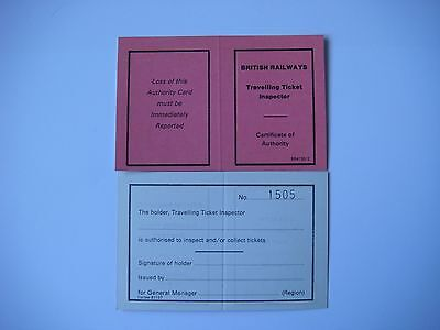 British Rail Travelling Ticket Inspector Certificate of Authority BR 4130/2 New