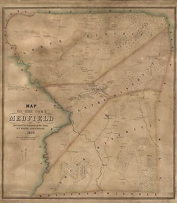 12x18 inch Reprint of American Cities Towns States Map Medfield Mass
