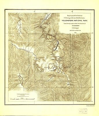 12x18 inch Reprint of American Parks Islands Map Yellowstone Park