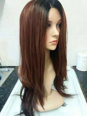 Brown human hair wig, ombre, dark roots, lace front, real hair mix