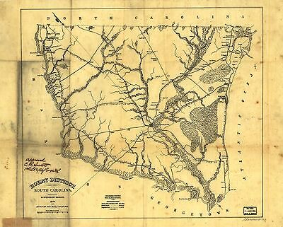 12x18 inch Reprint of American Cities Towns States Map Horry South Carolina