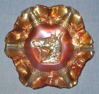 "Dugan-Diamond Marigold Carnival Glass ""pony""  (6)  Ruffled Bowl"