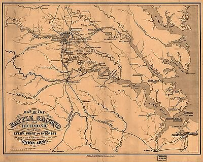 12x18 inch Reprint of American Military Map Ricmond Battle Ground Virginia