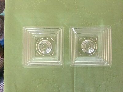 Vintage Anchor Hocking Manhattan Clear Glass Pair of Candle Holders