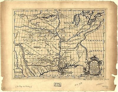 12x18 inch Reprint of Lakes And Rivers Map Louisiana Mississippi