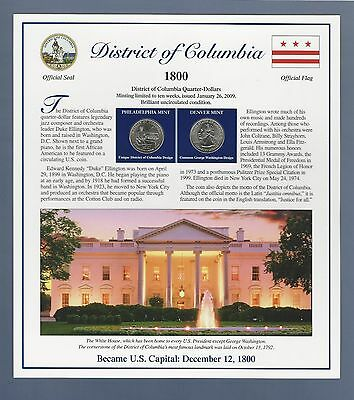 2009 District Of Columbia Quarters & Stamps Panel...postal Commemorative Society