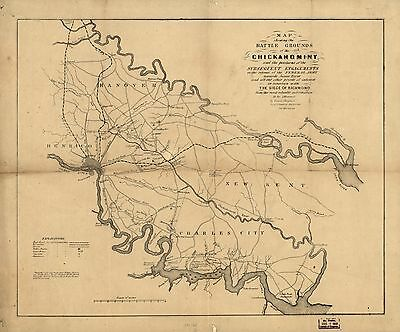 12x18 inch Reprint of American Military Map Chickahominy Battle Grounds