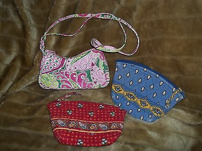 Vera Bradley Lot ..Two Cosmetic Cases One Small Pink Purse..Sweet!!!