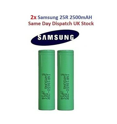 2x 100% Genuine SAMSUNG 25R INR18650 35A Rechargeable 2500mAH Battery Vape Mods