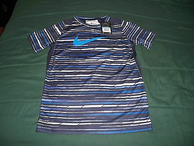 Nwt $35 Boys Medium Nike Dri Fit Blue Short Sleeve T Shirt