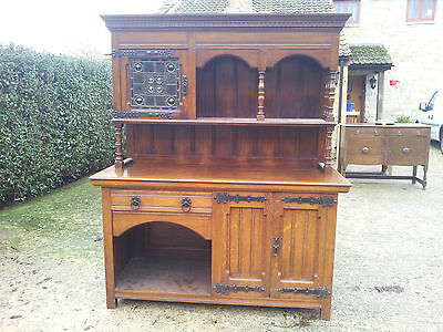 Victorian Oak Dresser Beautiful solid Stained Glass Window sturdy no woodworm