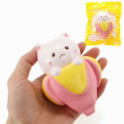 Squishy Banana Cat Kitten 12cm Slow Rising With Packaging Scented Collection Gif