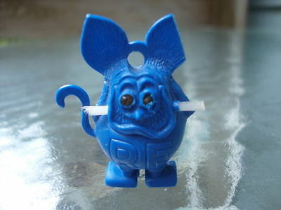 Vintage Ed Roth 1960's Rat Fink Royal Blue Charm w Clear Whiskers Gold Eyes!