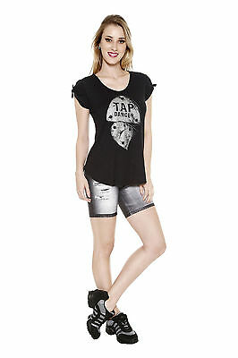 New So Danca L1320 Tap Tee Modal t-shirt with gathered sleeves Adult Small AS