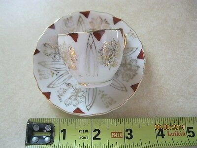 Vintage Small Cup & Saucer marked BACO Japan maroon