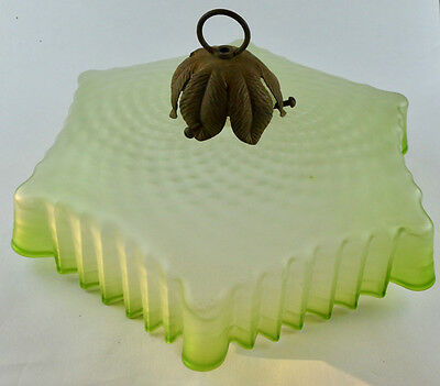 Rare Large French Frilled Glass Ceiling Light Fixture Light Shade Absinthe c1900