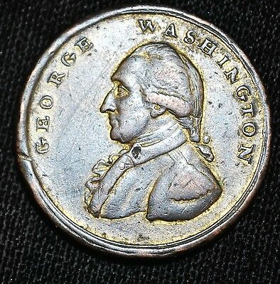 1795 undated Washington Liberty & Security Penny, Gilt Copper, Baker 30D Asylum