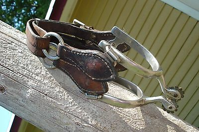 Vtg Pair Of Cowboy Boot Horse Spurs With Adjustable Leather Straps~Nice