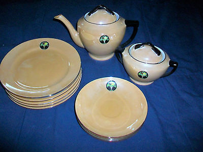Meito China Tea Pot Sugar Plates and Saucers Set Gold Irridesent Hand Painted