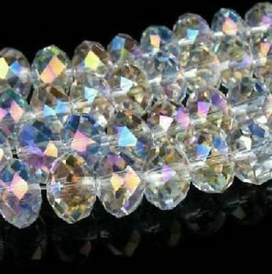 Diy Jewelry 70pc Faceted Rondelle glass crystal 6*8mm Beads White AB