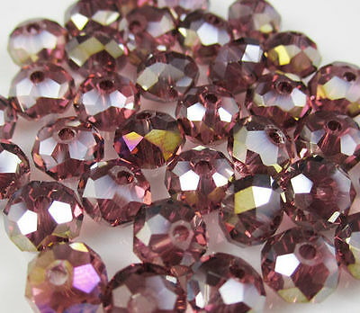 Jewelry Faceted 70pcs 6*8mm Rondelle glass Crystal Beads  In Purple AB  DIY