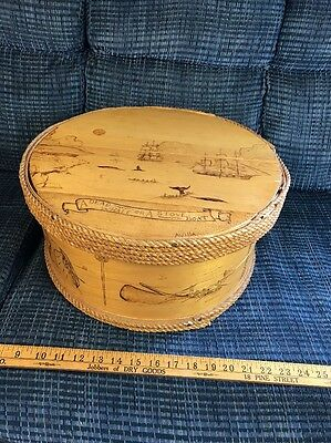 Whaling Scene Scrimshaw Style 3D Art Wood Box Avilla Nautical Decore