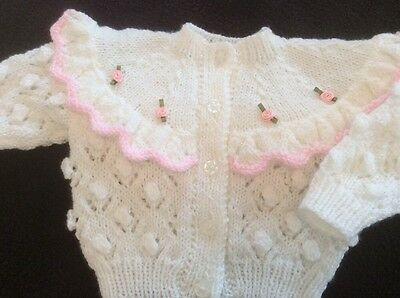HAND KNITTED BABY GIRLS CARDIGAN IN LUSTRE 6/12 months
