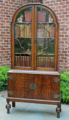 Antique English Tiger Oak Domed Top Bookcase Display China Cabinet PETITE