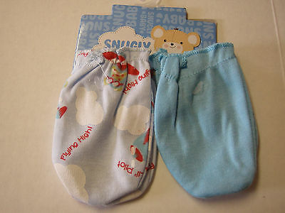 Scratch Mittens, Boy, 2 Pack, Blue & Airplane Print By Snugly Baby, 0-6 Mos, New