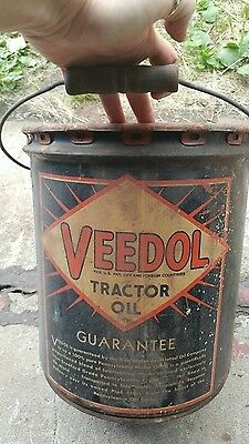 vinrage metal tractor oil can Veedol Tide Water company NY PA no. 30 empty