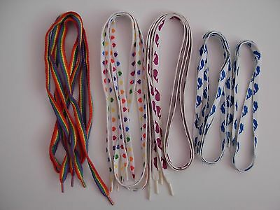 Vintage 80s Used Shoe Laces Sneakers Tennis Craft Whale RAINBOW Heart *Lot of 9*